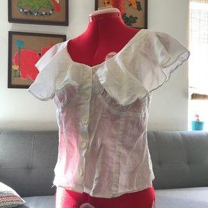 White vintage blouse ruffled neckline